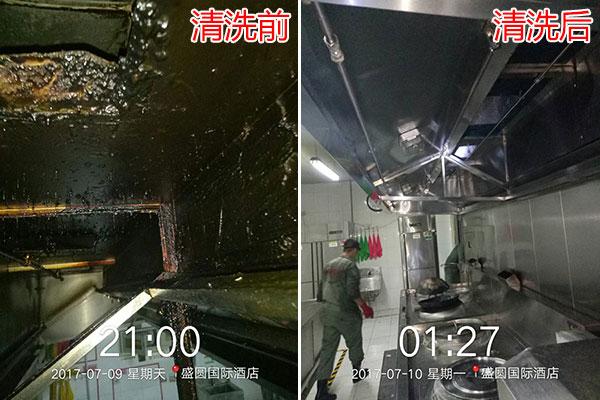 大型油烟机清洗前后对比